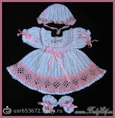 Вязание платье для новорожденной