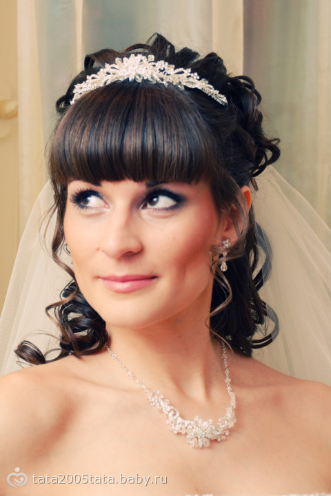 Прически свадебные фото с челкой