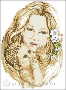 """Предпросмотр схемы вышивки  """"Мать и дитя """".  Мать и дитя, мама, ребенок, малыш, материнство."""