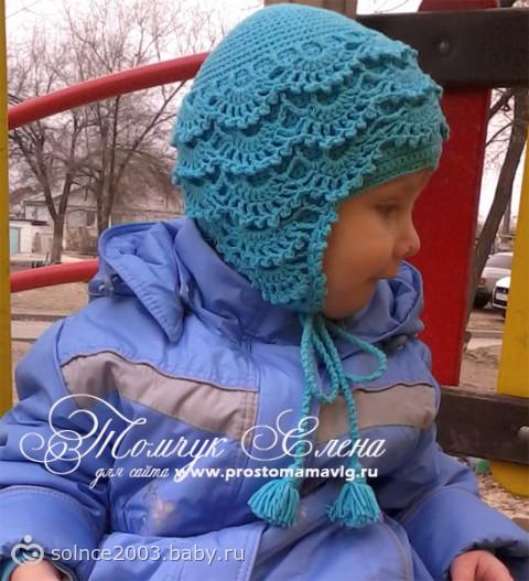 Ажурная шапочка крючком для девочки
