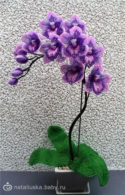 Пошаговый орхидея из бисера