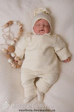 Вязаный костюм на новорожденного - на бэби.ру