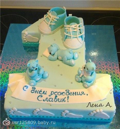 Торт на первый день рождения мальчику без мастики 156