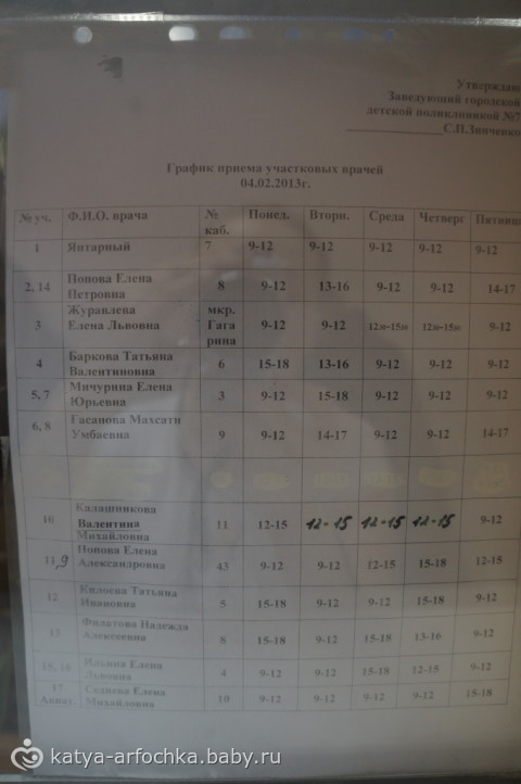 поликлиника 1 график работы: