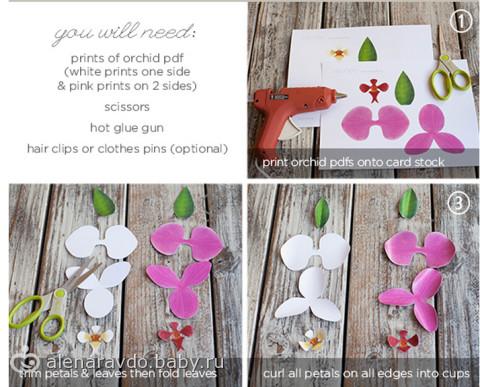Как сделать орхидеи своими руками из бумаги