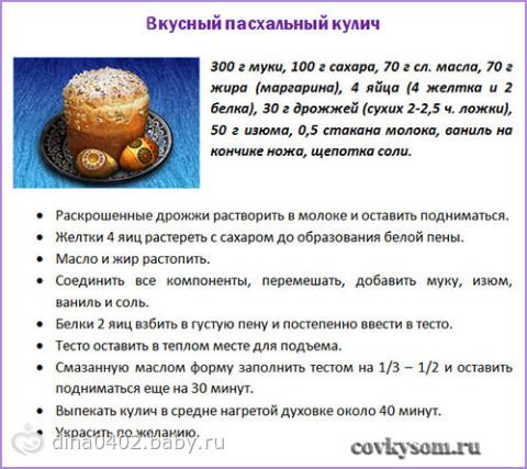 Рецепт как сделать кулич на пасху