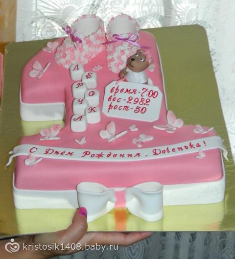 Торт из мастики для девочки 1 год своими руками