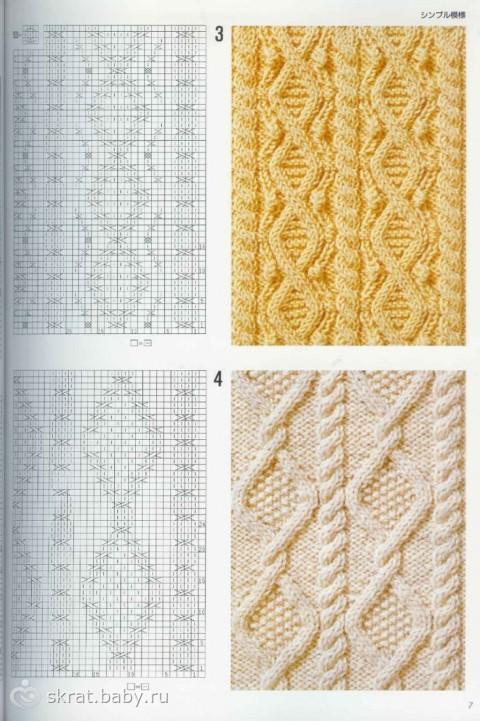 схемы вязания спицами. косички