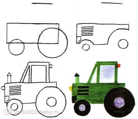 Рисование поэтапное трактора