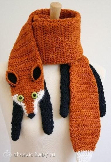 вязаный шарф в виде зверюшки