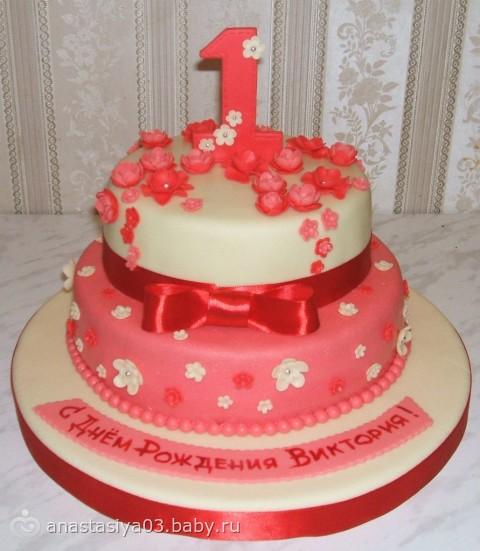 Торт на годик двухъярусный фото