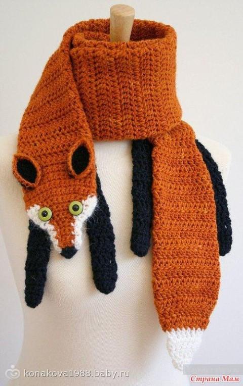 Схема вязания шарфа лисы спицами 311