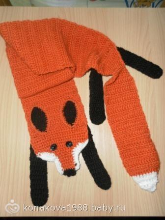 Схема вязания шарфа лисы спицами 629