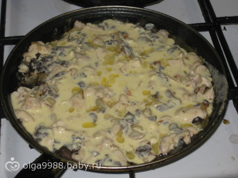 жульен с грибами и курицей в сковороде рецепт с фото