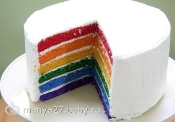 торт радуга рецепт с натуральными красителями