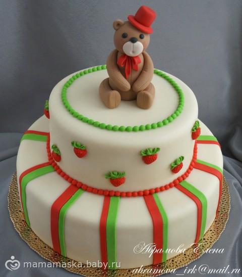 с рецепт Двухъярусный для мастикой торт мальчика