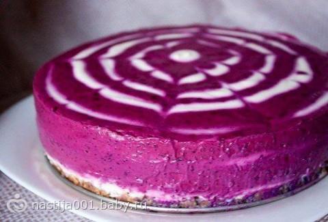Черничный творожный торт без выпечки